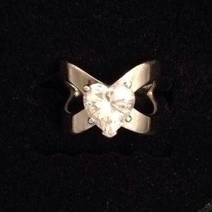 Sterling Silver Diamonique Heart Ring